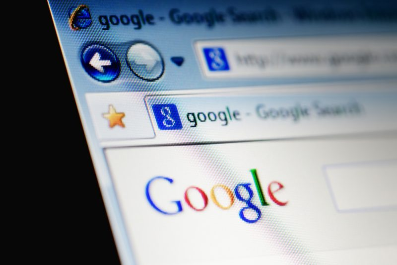 Google Search Results on Internet Explorer