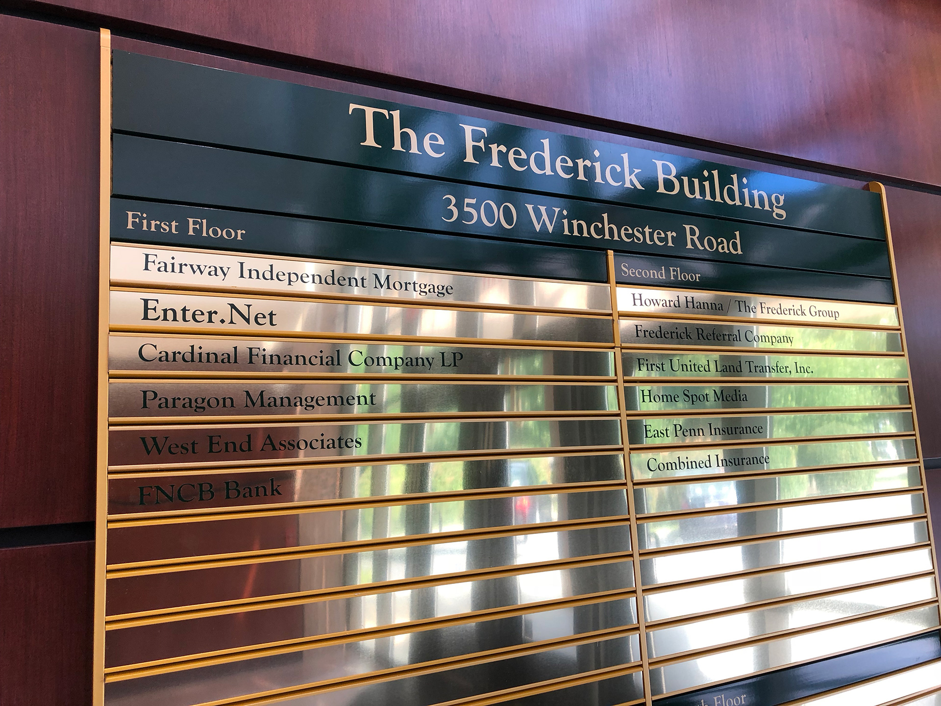 The Frederick Building Lobby Directory, 3500 Winchester Road